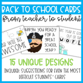 Back to School Cards (from Teacher to Students) to Welcome Students