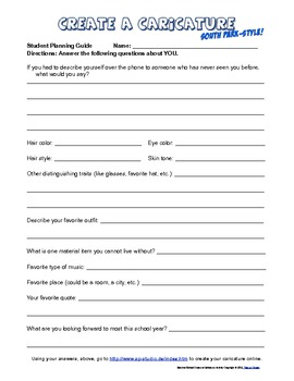 Free Back to School Beginning of the Year Caricature Icebreaker Activity