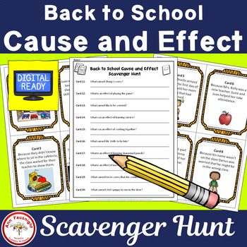 Back to School Cause and Effect Scavenger Hunt