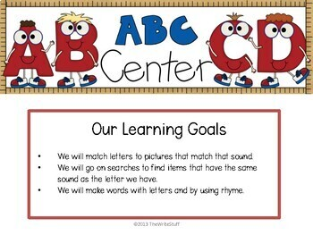 Back to School Activities:  Center Posters and Printables