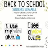Back to School Centers - Sentence Scramble - Back to School