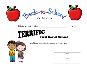 Back to School Certificate