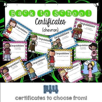 Back to School Certificates (chevron)