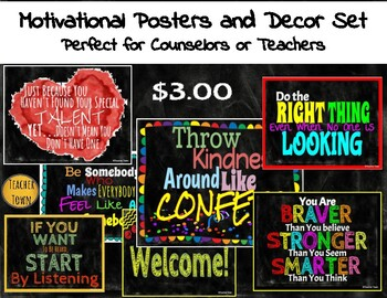 Back to School Motivational Posters and Chalkboard Classroom Decor