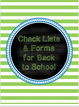 Back to School Check Lists & Forms