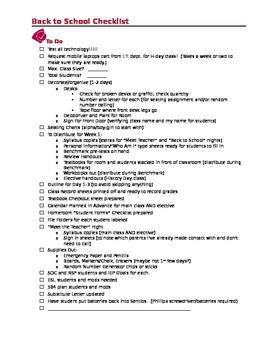 Back to School Checklist for the Teacher -room preparation, self preparation,etc