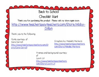 Back to School Checklist Hunt