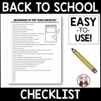 FREE Back to School Checklist for Intermediate Grades 3-5