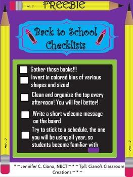 Back to School Checklists (FREEBIE)