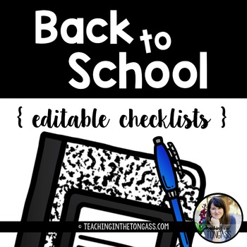 EDITABLE Back to School Checklists Free (and FREE Binder Cover)