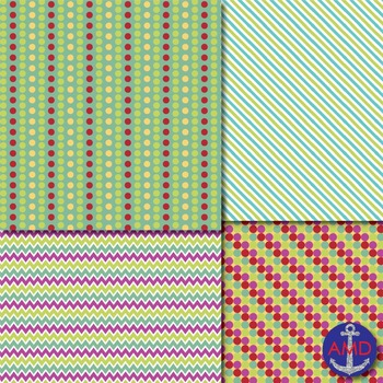 Back to School Chevron, Stripes & Polka Dot Papers for Backgrounds and More