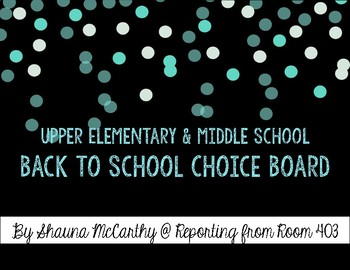 Back to School Choice Board