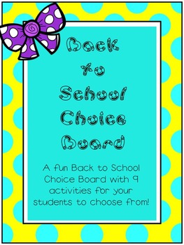 Back to School Choice Board- 50% Off!
