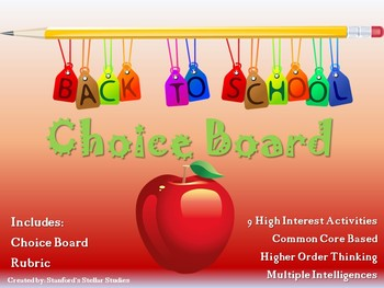 Back to School Choice Board Activities Menu Project Rubric Tic Tac Toe