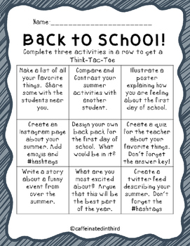Back to School Choice Board Think Tac Toe