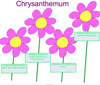 Back to School Chrysanthemum Story Lesson and Smartboard Activities