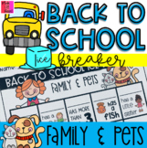 Back to School ICE BREAKER Activity - Family and Pets