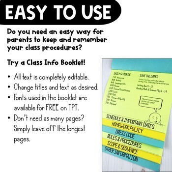 Back to School Class Information for Parents Layered Flap Book Editable