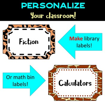 Back to School Class Labels - Clip Art - Paw Prints - Frames in Animal Print