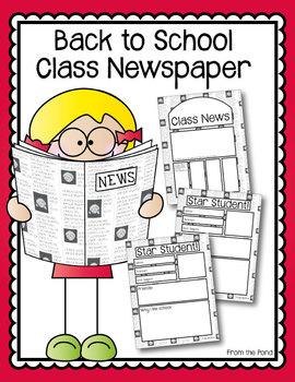 Back to School Class Newspaper Activity