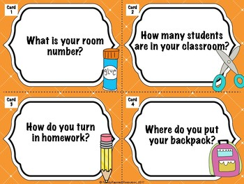 Back to School Class Routines - Task Cards