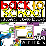 School Theme Class Slides Editable with Timers Freebie for