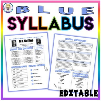 Back to School Class Syllabus Template - Blue - EDITABLE!