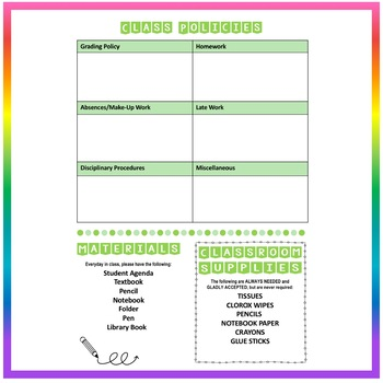 Back to School Class Syllabus Template - Green - EDITABLE!