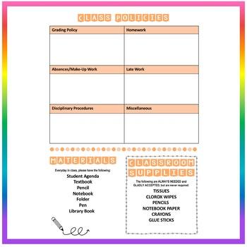 Back to School Class Syllabus Template - Orange - EDITABLE!