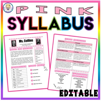 Back to School Class Syllabus Template - Pink - EDITABLE!