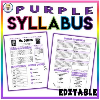 Back to School Class Syllabus Template - Purple - EDITABLE!