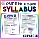 Back to School Class Syllabus Template - Purple and Teal Theme - EDITABLE!
