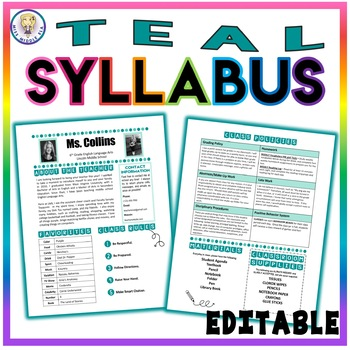 Back to School Class Syllabus Template - Teal - EDITABLE!