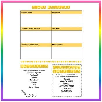 Back to School Class Syllabus Template - Yellow - EDITABLE!