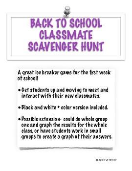 Back to School Classmate Scavenger Hunt