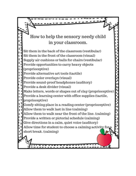 Sensory Checklist for Special Learners
