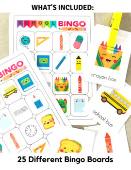 Back to School Classroom Bingo Board and Flashcard Set