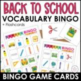 School Supplies Bingo Board and Flashcard Set