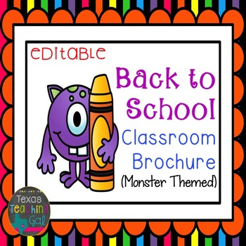 Back to School Classroom Brochure [Editable]