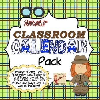 Back to School Classroom Calendar Pack (Detective Theme)
