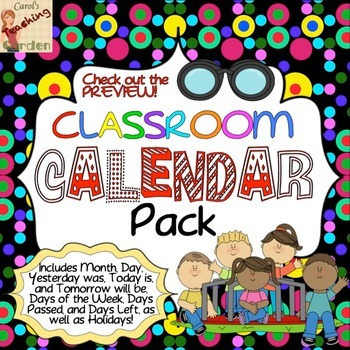 Back to School Classroom Calendar Pack (Terrific Kids Theme)