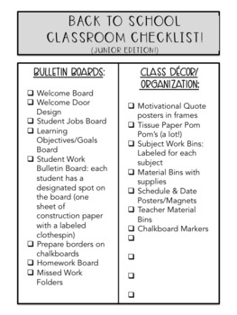 Back to School Classroom Checklist!