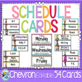 Schedule Cards ~ Editable ~ with Chevron Classroom Theme