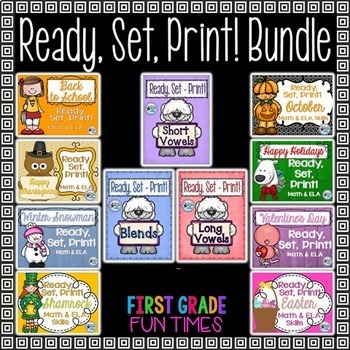 Back to School Ready, Set, Print Morning Work Bundle
