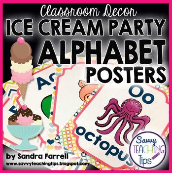 Back to School Classroom Decor ICE CREAM PARTY Alphabet Posters