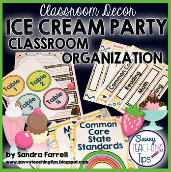 Back to School Classroom Decor ICE CREAM PARTY Classroom Organization