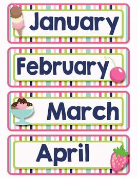 Back to School Classroom Decor ICE CREAM PARTY Complete Calendar