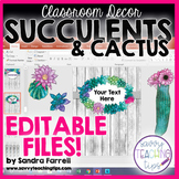 Back to School Classroom Decor SUCCULENTS and CACTUS Editable Files