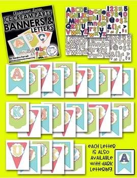 Back to School Classroom Decor ICE CREAM PARTY Banner and Alphabets