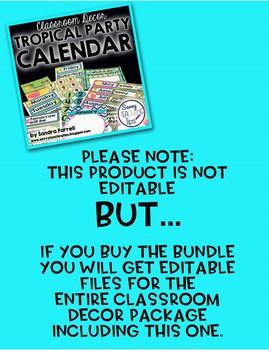 Back to School Classroom Decor TROPICAL PARTY Complete Calendar